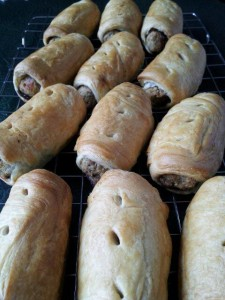Vegan sausage rolls made using our red onion marmalade